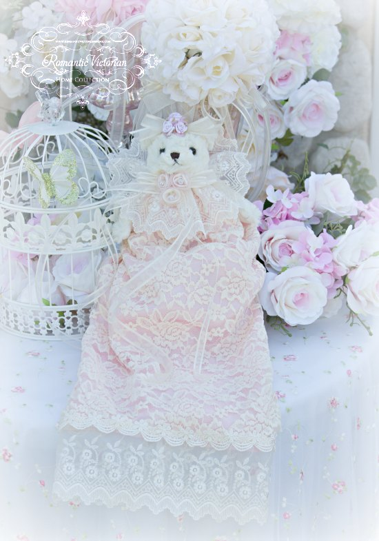 Pink and Creme French lace Bear
