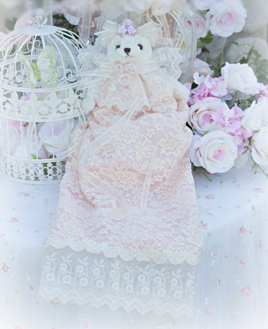 Image 1 of Pink and Creme French lace Bear