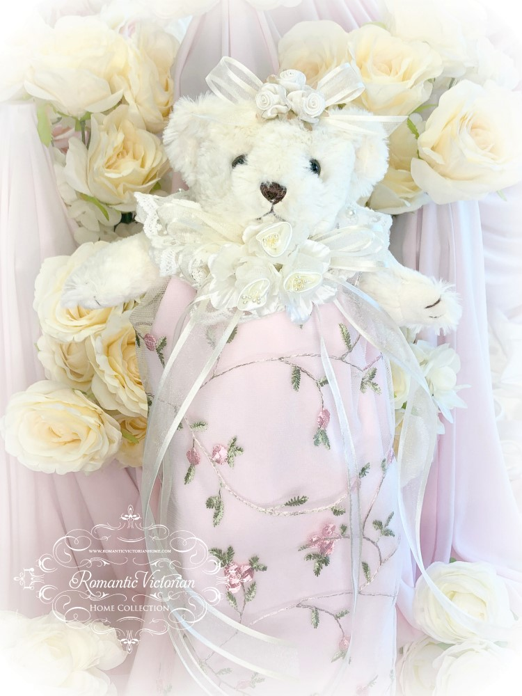 Image 2 of Embroidered Roses Romantic Victorian Teddy Bear