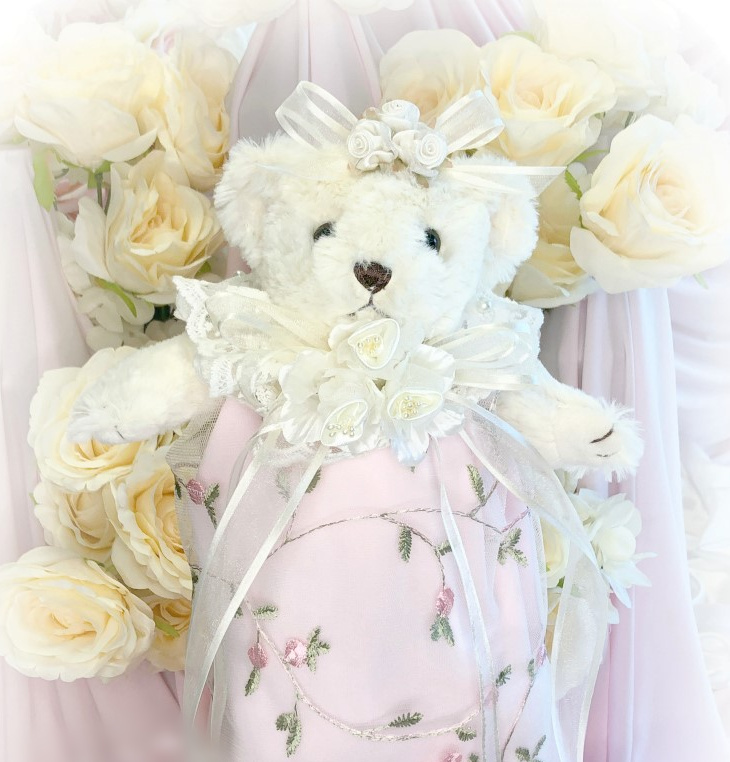 Image 1 of Embroidered Roses Romantic Victorian Teddy Bear