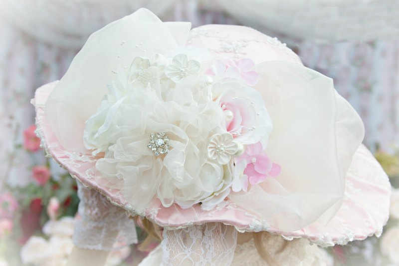 Image 1 of Roses and Pearls Pink Beaded Victorian Hat