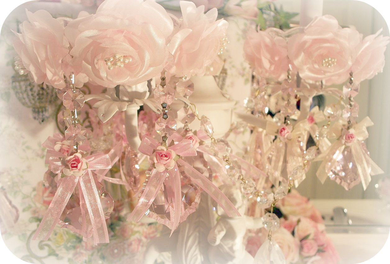 Image 0 of Crystal Roses Chandelier / Candle Bobeches