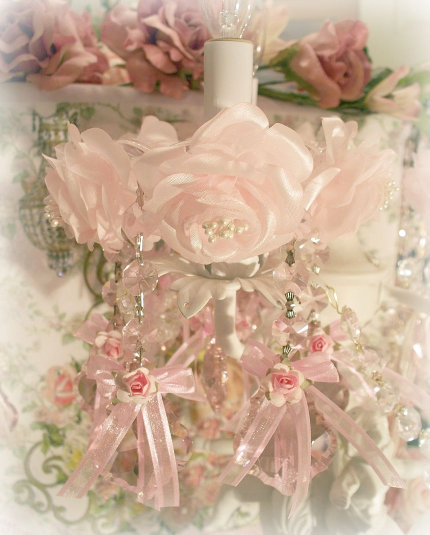 Image 1 of Crystal Roses Chandelier / Candle Bobeches