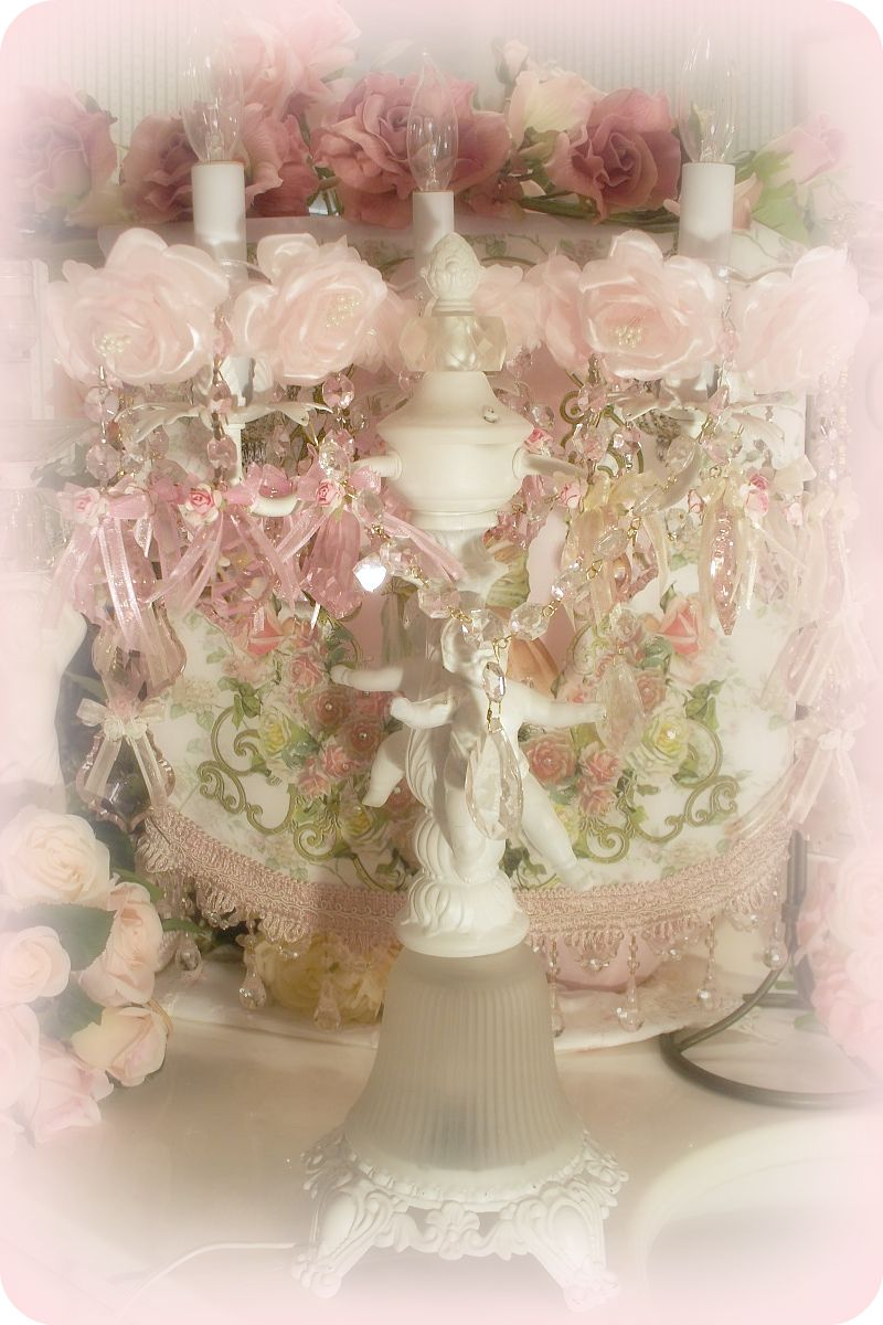 Image 2 of Crystal Roses Chandelier / Candle Bobeches