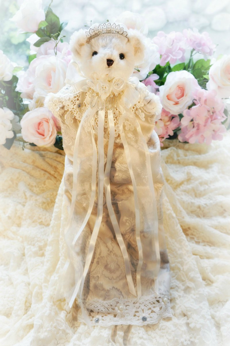 Image 0 of Ivory and Silver Damask Bear