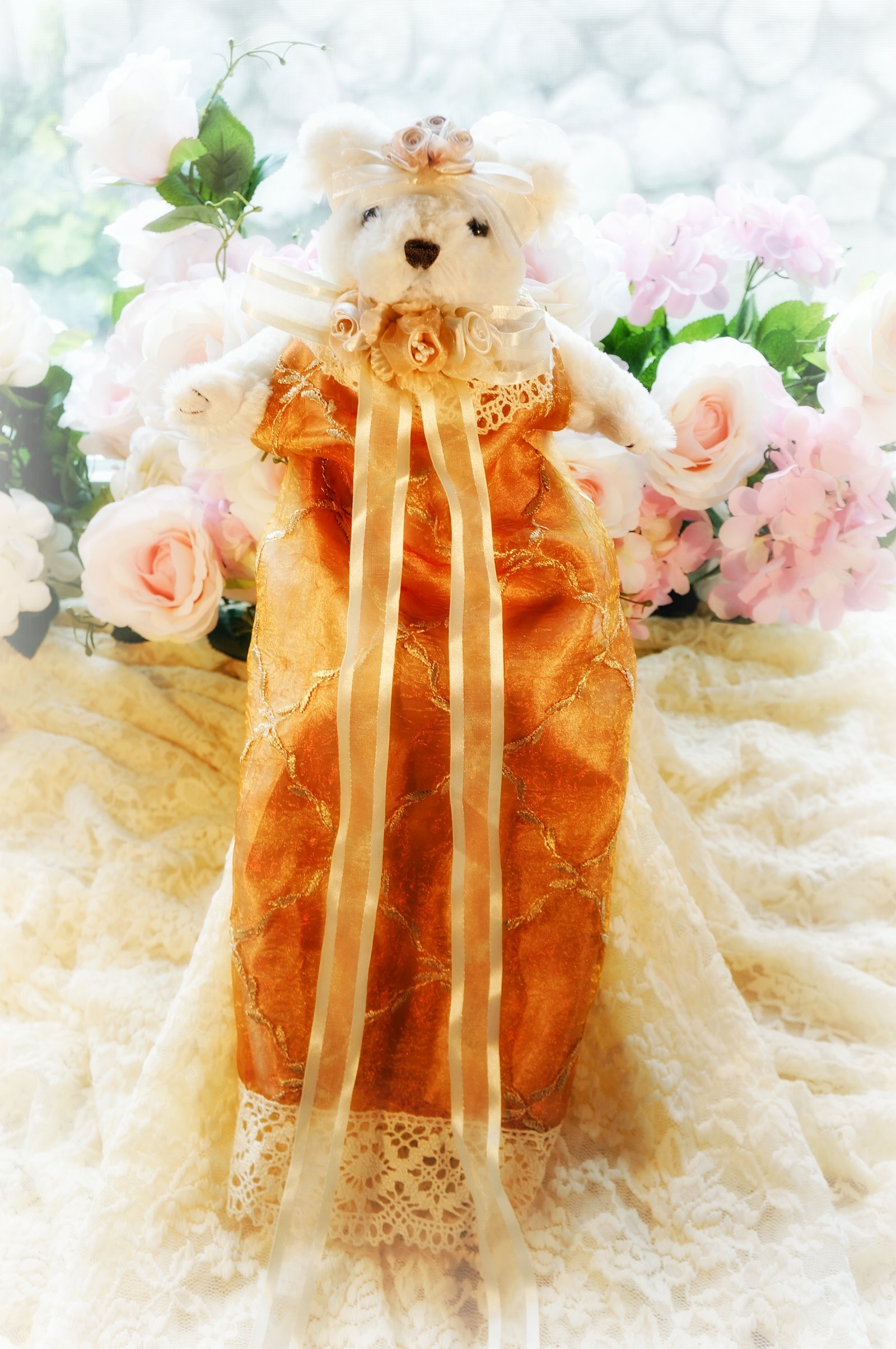Image 0 of Embroidered Silk Organza Bear