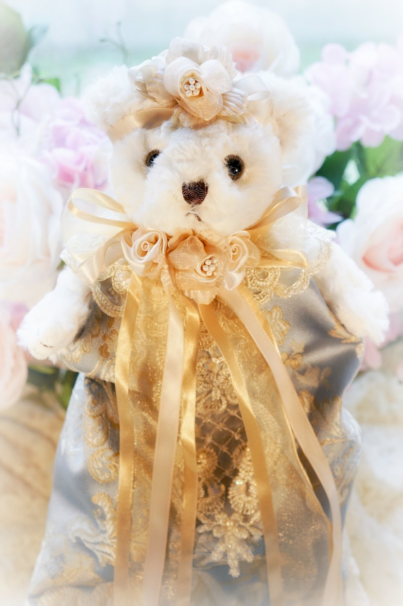 Image 1 of Antique Blue and Gold Damask Bear