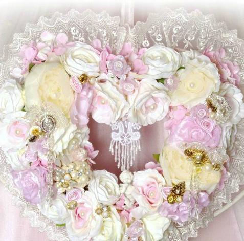 Image 1 of Pink Cherub Heart Wreath