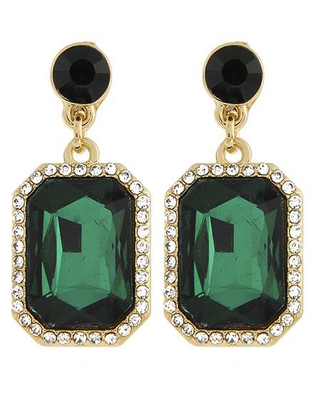 Image 0 of Victorian Emerald Cut Rhinestone Earrings