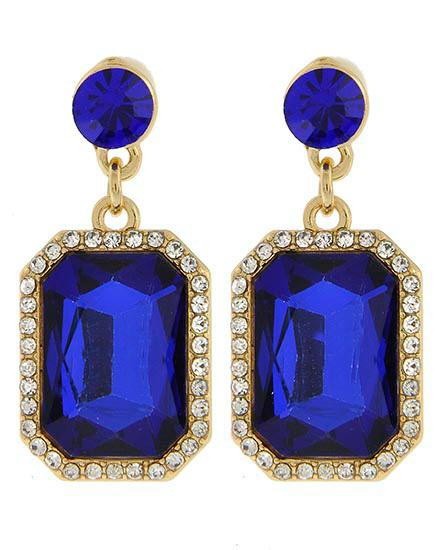 Image 1 of Victorian Emerald Cut Rhinestone Earrings