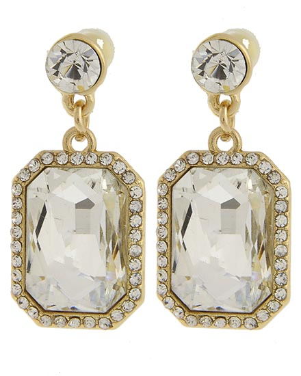 Image 2 of Victorian Emerald Cut Rhinestone Earrings