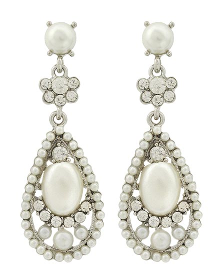 Image 0 of Pearl & Rhinestone Victorian Earrings