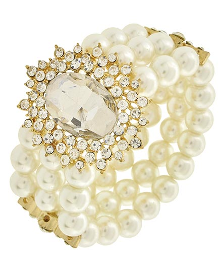 Image 0 of Victorian Pearl and Rhinestone Bracelet