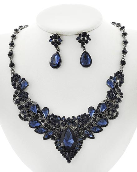 Image 0 of Antique Blue Victorian Rhinestone Necklace and Earring Set