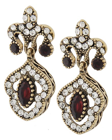 Image 0 of Antique Ruby Victorian Earrings