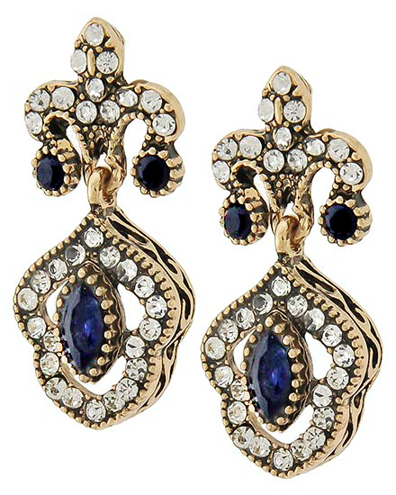 Image 0 of Antique Navy Sapphire Victorian Earrings