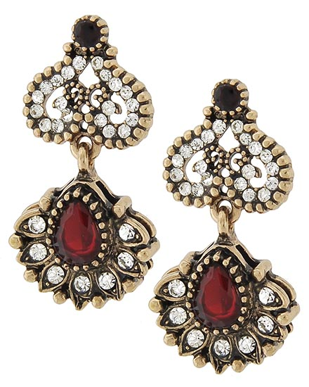 Image 0 of Antique Pear Shape Ruby Victorian Earrings
