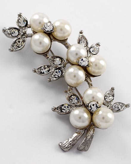 Image 0 of Antique Silver Pearl and Rhinestone Brooch