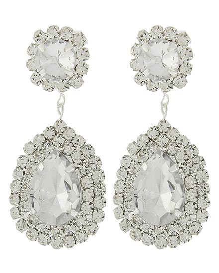 Image 0 of Victorian Clear Rhinestone Earrings