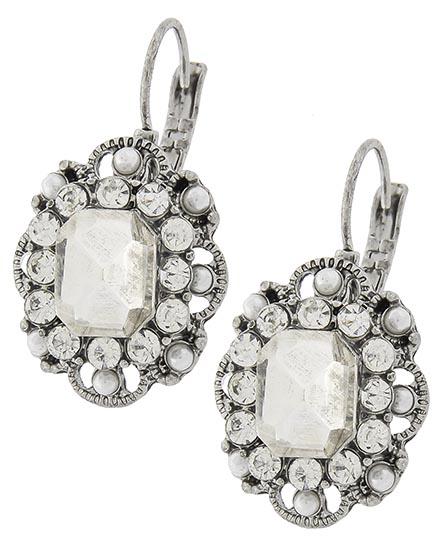Image 0 of Classic Clear Rhinestone Victorian Earrings