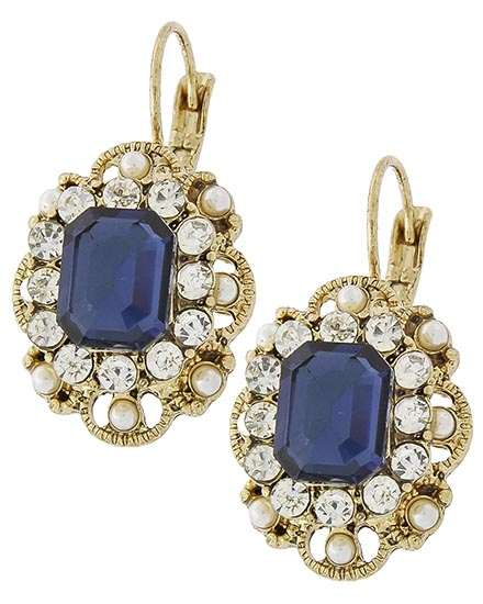 Image 0 of Classic Victorian Sapphire Rhinestone Earrings