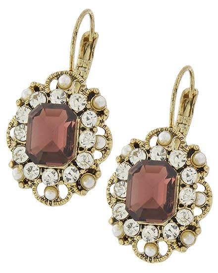 Image 0 of Classic Victorian Burgundy Rhinestone Earrings