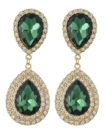 Image 0 of Classic Emerald Pear Glass and Rhinestone Earrings