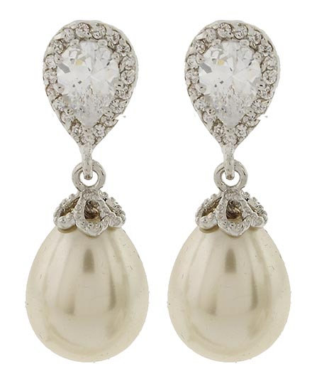 Image 0 of Duchess Pearl and Zirconia Earrings