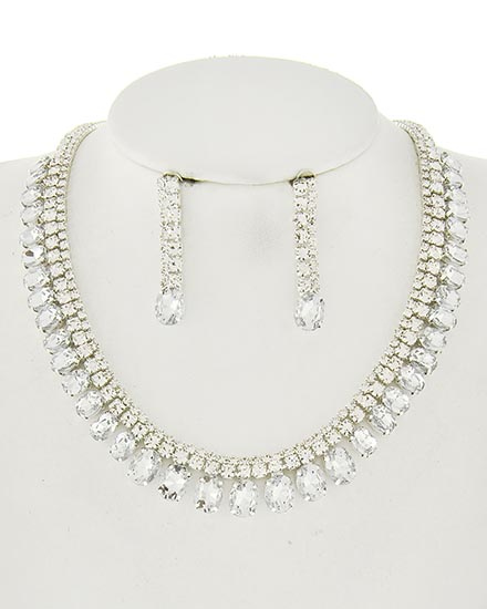 Image 0 of Royalty Rhinestone Necklace and Earring Set