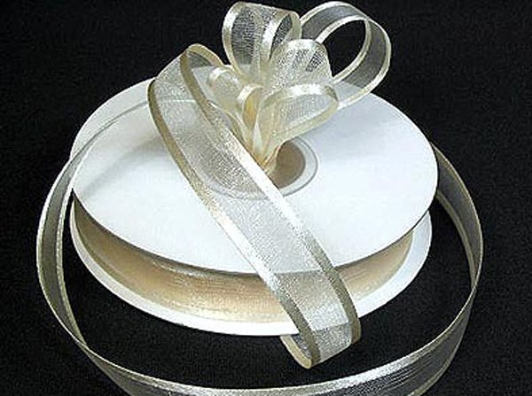 Image 0 of Ivory Satin Edged Organza Ribbon 25 yard/roll