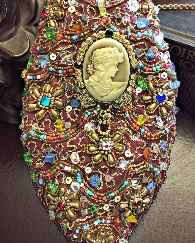 Image 1 of Victorian Beaded Reticule / Purse with Cameo