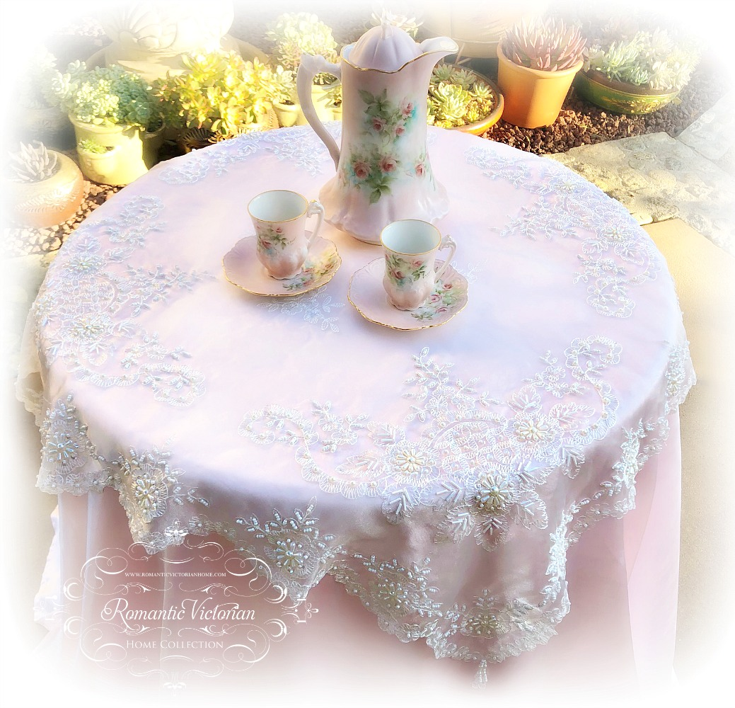 Image 2 of Romantic Victorian Tea Table Beaded Topper