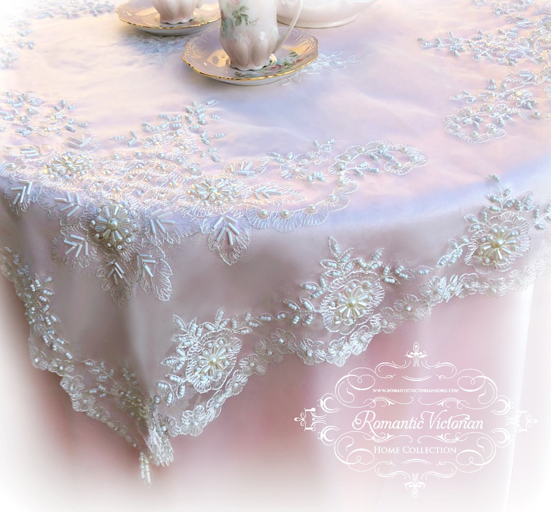 Image 3 of Romantic Victorian Tea Table Beaded Topper