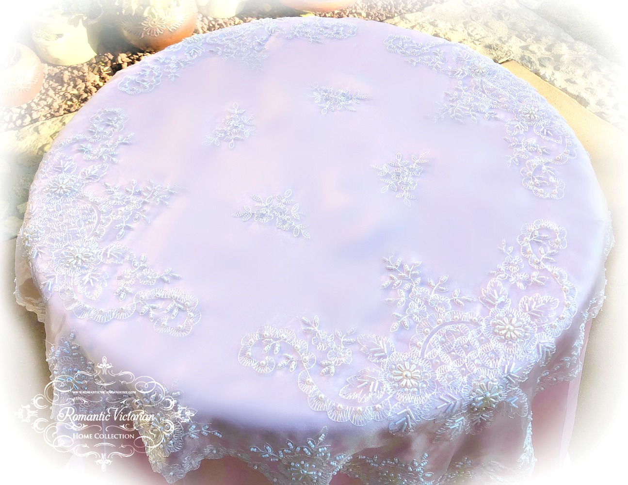 Image 4 of Romantic Victorian Tea Table Beaded Topper