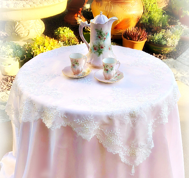 Image 1 of Romantic Victorian Tea Table Beaded Topper