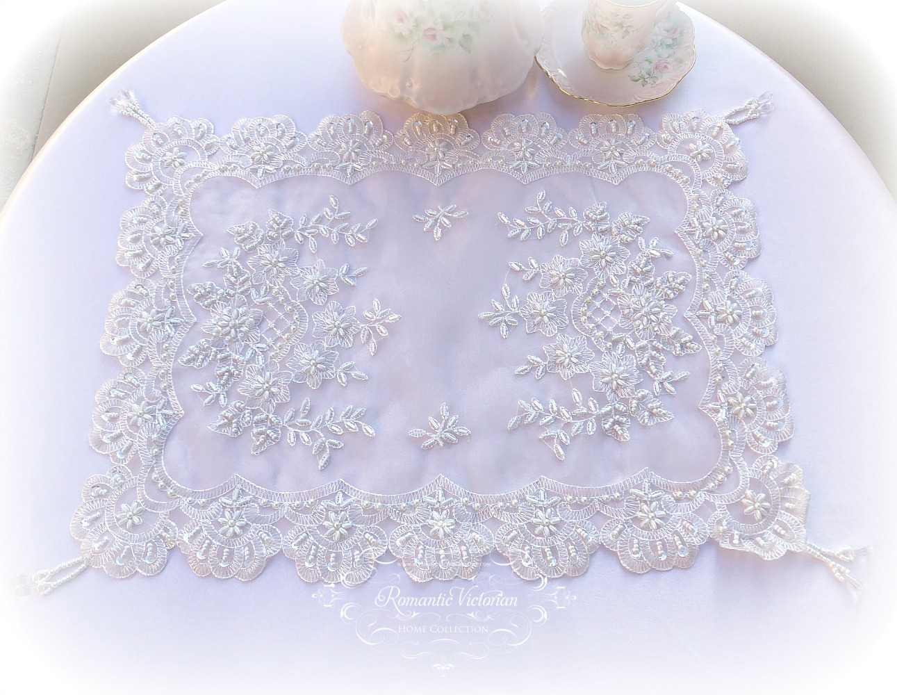 Image 2 of Romantic Victorian Beaded Table Placemat