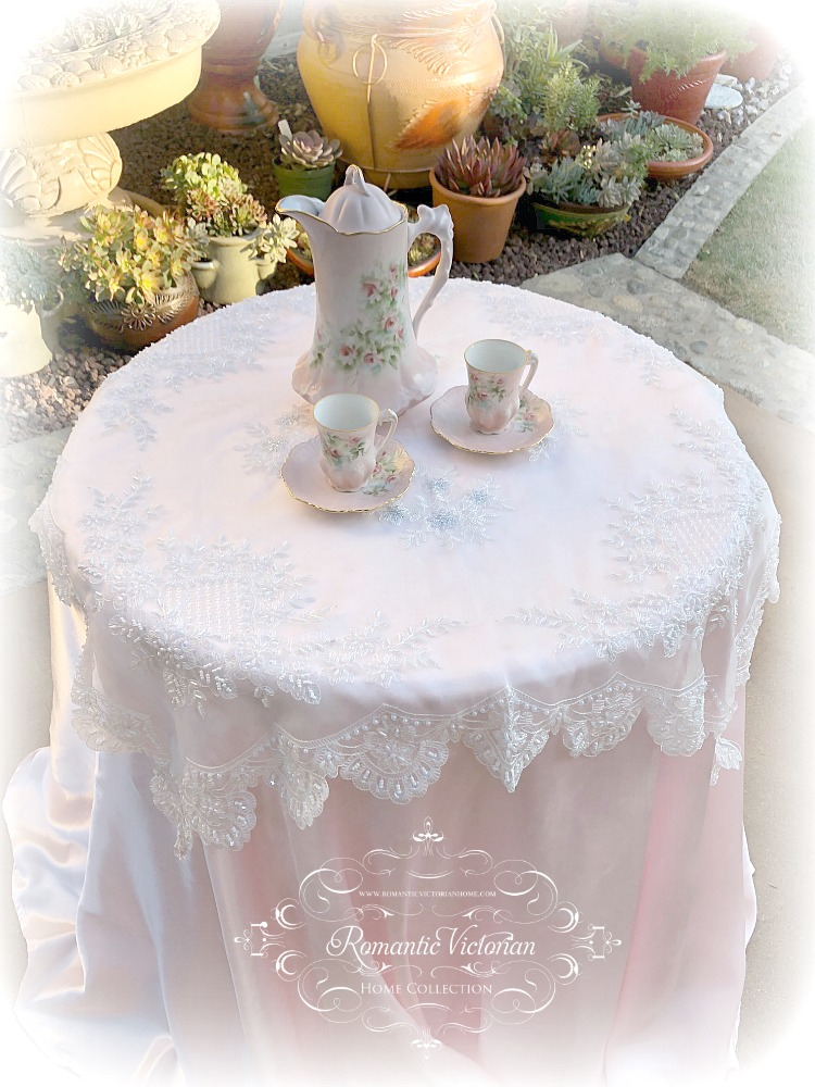 Image 0 of Romantic Victorian Tea Table Beaded Topper with Silver Accent