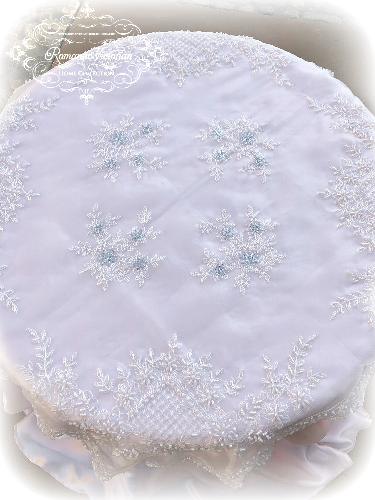 Image 1 of Romantic Victorian Tea Table Beaded Topper with Silver Accent