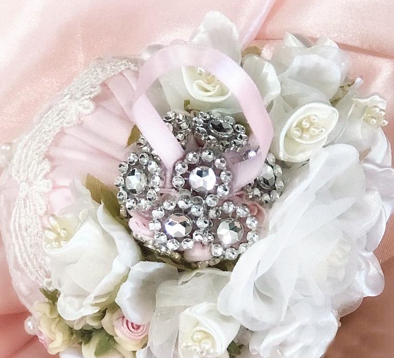 Image 1 of Shabby Pink Cherub Ornament Round