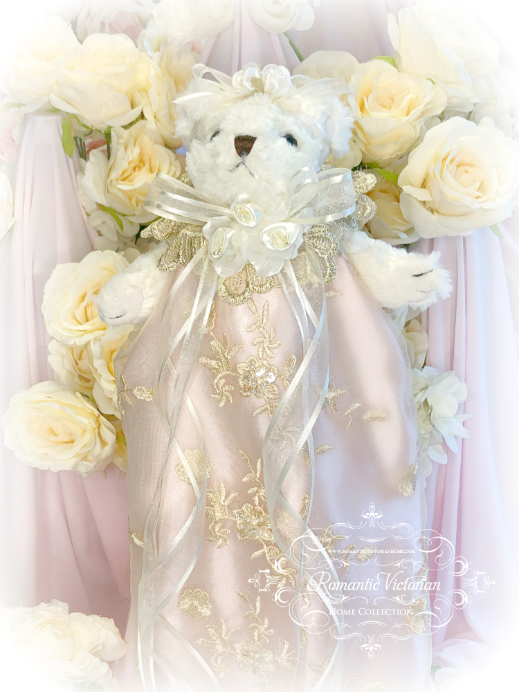 Image 2 of Rose Gold Romantic Victorian Teddy Bear