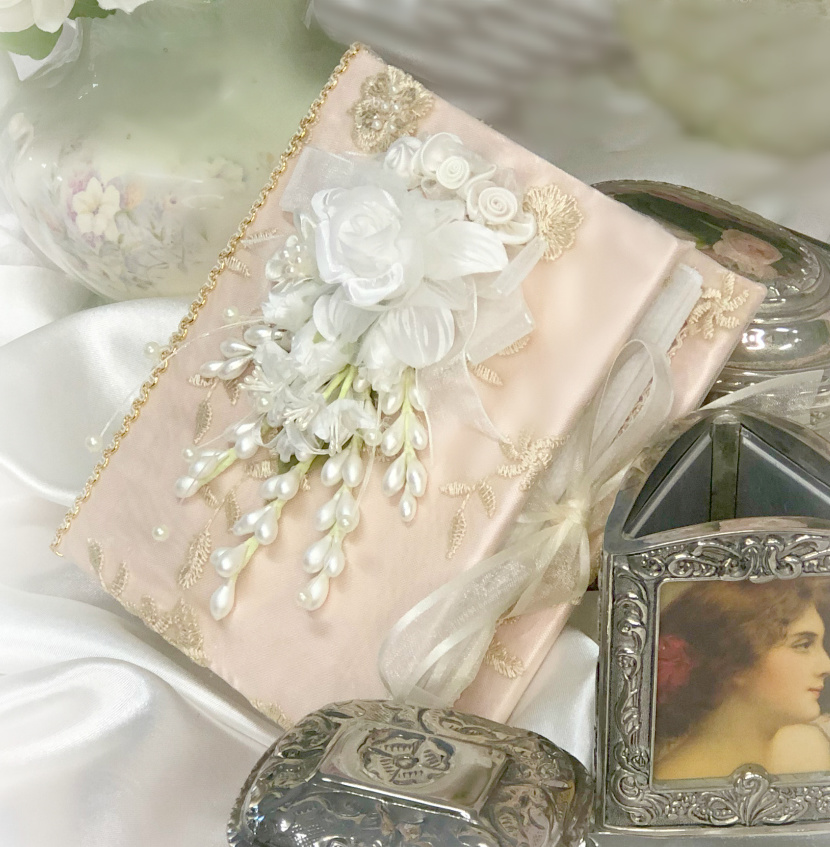 Image 1 of Small Rose Gold Romantic Victorian Photo Album