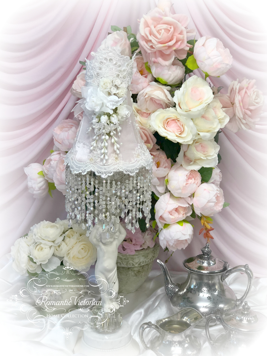 Image 4 of Blush Rose Pink Cherub Lamp Shade