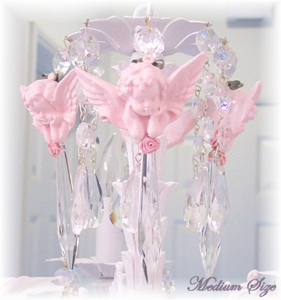 Image 0 of Medium Pink Cherub Chandelier Charms