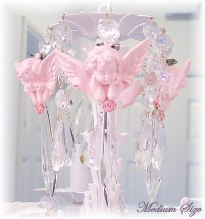 Medium Pink Cherub Chandelier Charms