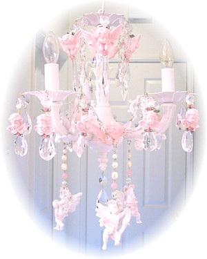 Image 1 of Medium Pink Cherub Chandelier Charms