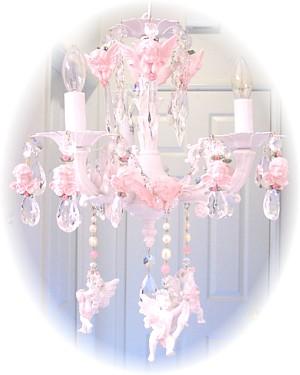 Image 1 of Medium Pink Cherub Chandelier Charms