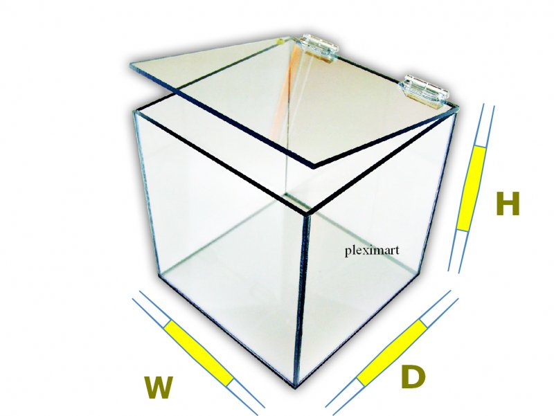 Acrylic box with hinge lid - 12D x 12 W x 12 H - 3/16 Thick