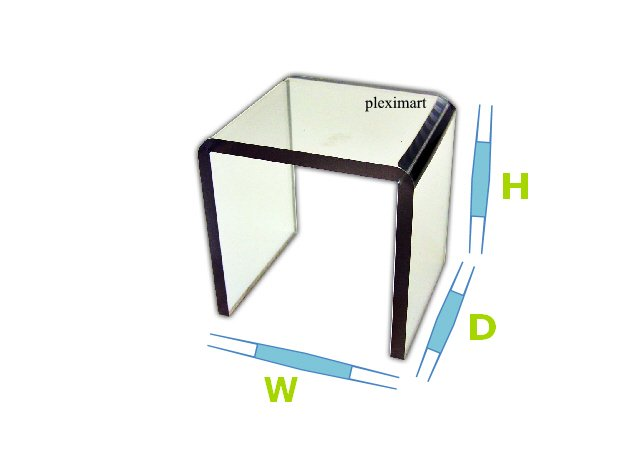 Acrylic display riser 2W x 10D and 6H - 1/8 Thick