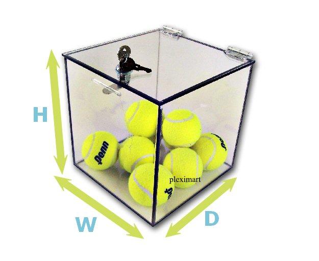 Acrylic 5-Sided Box w/ Cam Lock Lid 10 x 10 x 10 - 1/8 Thick