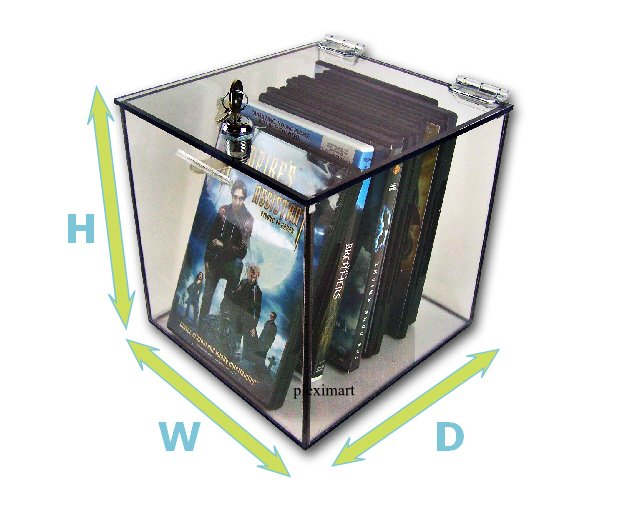 Clear Plexiglass Box W/Camlock 8H x 8D x 8W - 1/4 Thick